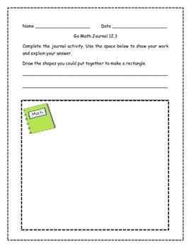 Go Math! Math Journal Activities for Grade 1, Chapter 12