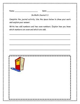 Go Math! Math Journal Activities for Grade 2, Chapter 1