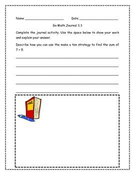 Go Math! Math Journal Activities for Grade 2, Chapter 3