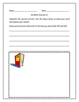 Go Math! Math Journal Activities for Grade 2, Chapter 6