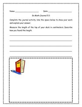 Go Math! Math Journal Activities for Grade 2, Chapter 9