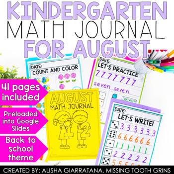Math Journal August (Kindergarten)