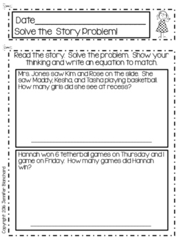 Math Journal - Addition Story / Word  Problems - Sums to 10 - 1st Grade
