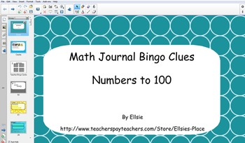 Math Journal Bingo Smartboard Clues