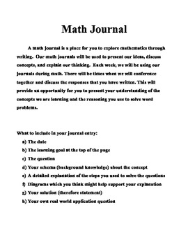 Intermediate Math Journal