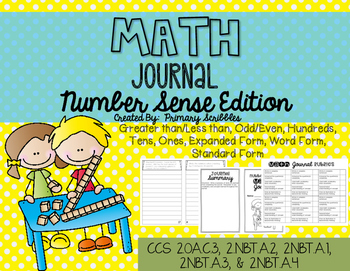 Math Journal Booklet Number Sense Edition