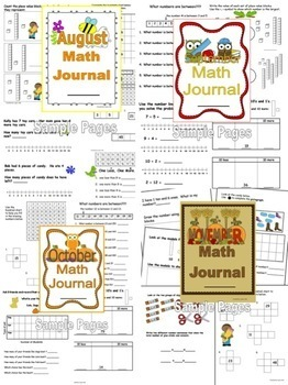 Monthly Math Journals Bundle to last all year and cover the CCSS