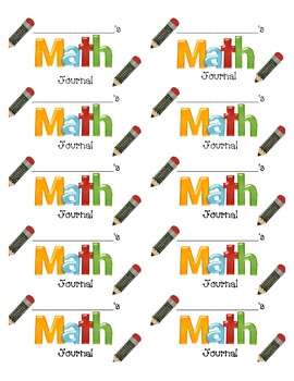 Math Journal Cover Label