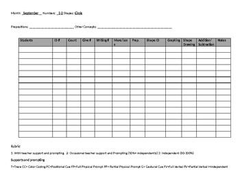Math Journal Data Sheet- September