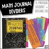 Math Journal Dividers for Interactive Notebooks and Composition Books