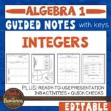 Integers - Interactive Notebook Activities