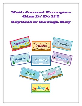 Math Journal Glue It/Do Its for All Year