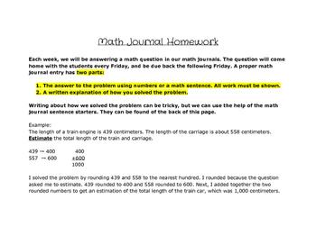 Math Journal Homework Instructions