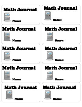Math Journal Labels (10 to a page)