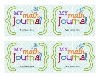 Math Journal Labels