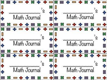 Math Journal Labels - Color