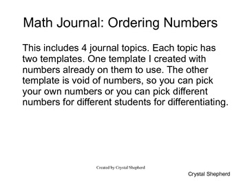 Math Journal Ordering Numbers