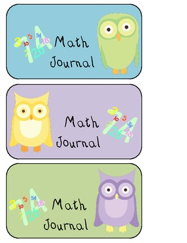 Math Journal Owl Labels - 3 Colors