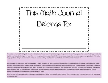 Math Journal Packet (Complete-5th Grade)