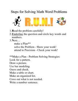 "Math Journal Page using ""R.U.N."" Word Problem Strategy"