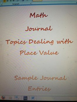 Math Journal: Place Value