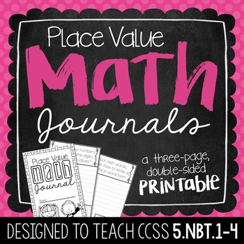 5th Grade Place Value Math Journal