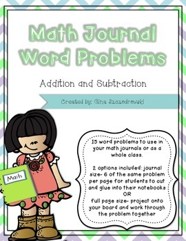 Math Journal Problems- Addition and Subtraction