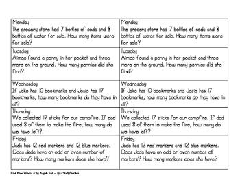 Math Journal Prompts - 1st 9 weeks (2nd grade)