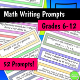 Math Journal Prompts 6th - 12th Grade - Great for Interactive Notebooks!