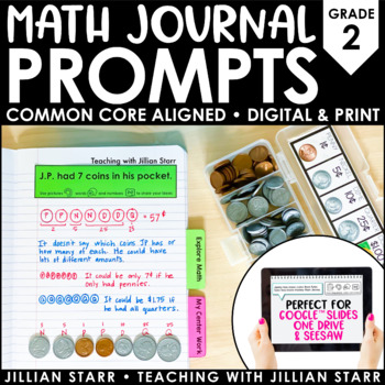 Distance Learning Math Journal Prompts {Common Core} Grade 2 | Digital & Paper