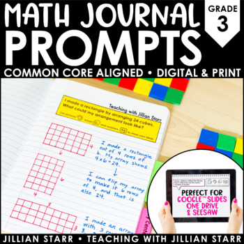 Math Journal Prompts {Aligned to the Common Core} Grade 3
