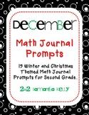 December Math Journal Prompts for 2nd Grade
