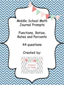 Math Journal Prompts (Essential Questions for Ratios, Percents and Functions)