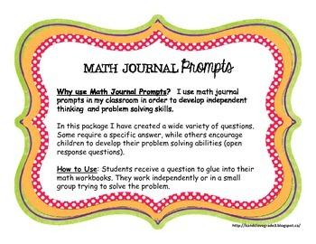 Math Journal Prompts II