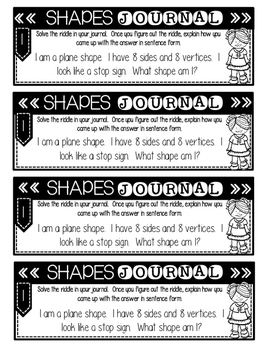 Math Journal Prompts: Shapes and Patterns Edition