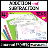 Math Journal Prompts for 4th grade Addition, Subtraction and Rounding TEKS