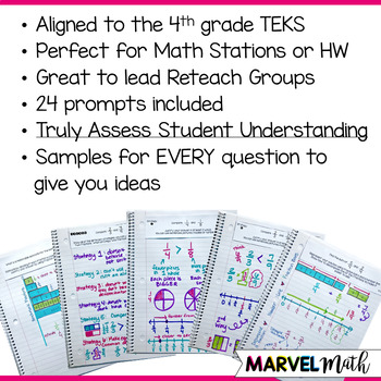 Math Journal Prompts for 4th grade Fraction TEKS *Guided Math Station*