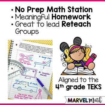Math Journal Prompts for 4th grade Geometry TEKS *Guided Math Station*