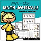 Digital Math Journal Prompts for April & May (Google Slides™)