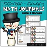 Kindergarten & First Grade Math Journal Prompts for December and January