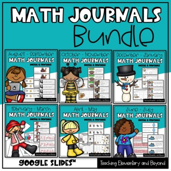Kindergarten & First Grade Math Journal Prompts Bundle
