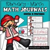 Digital Kindergarten Math Journal Prompts for February & M