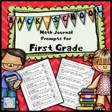 Back to School Math Journal Prompts for First Grade