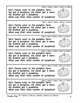 Fall Math Journal Prompts for First Grade