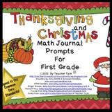 Christmas Math Journal Prompts 1st Grade Thanksgiving Math Journal Prompts