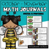 Kindergarten & First Grade Math Journal Prompts: October & November