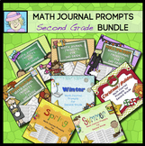 Second Grade Math Journal Prompts BUNDLE | Thanksgiving Math 2nd Grade