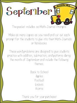 Math Journal Prompts for September