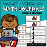 Kindergarten & First Grade Math Journal Prompts for August and September