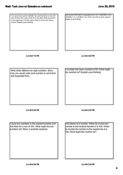 Math Journal Questions All Math Standards 4.NBT.1, 4.NBT.2, and more